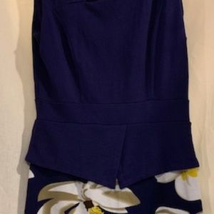 Homeyee Blue and White Floral Dress With Peplum 6